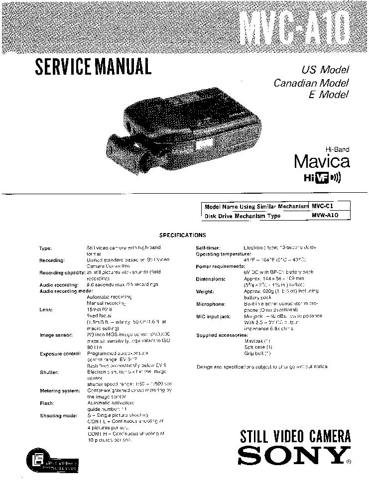 SONY MVC-A10 SM Service Manual download, schematics