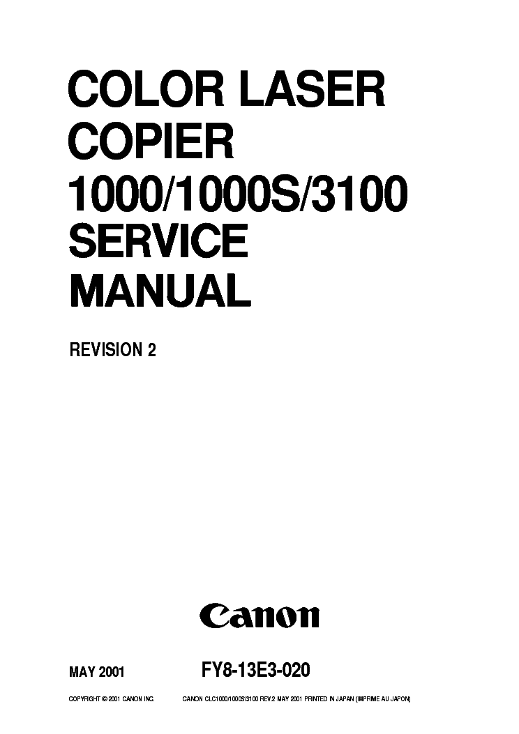 CANON CLC1000 CLC1000S CLC3100SM Service Manual download