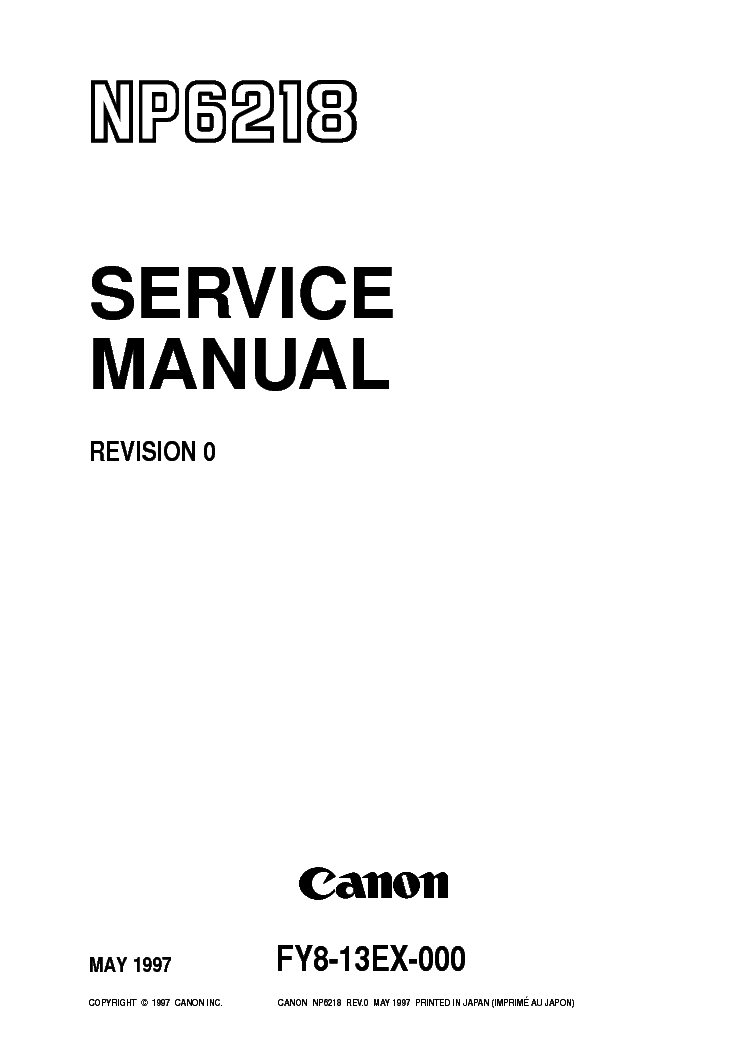 CANON NP6218 6216 SM Service Manual download, schematics
