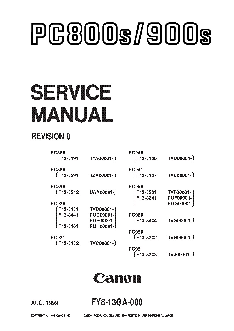 CANON FAX-L250 Service Manual download, schematics, eeprom