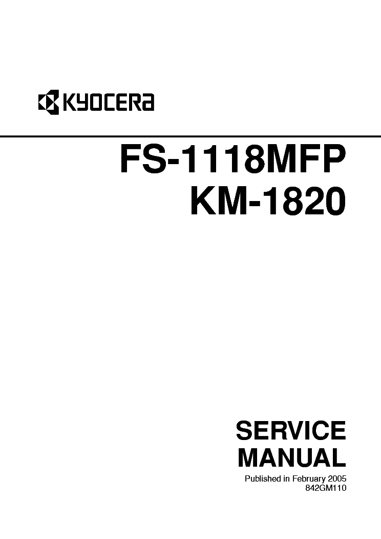 KYOCERA FS-1118MFP KM-1820 Service Manual download