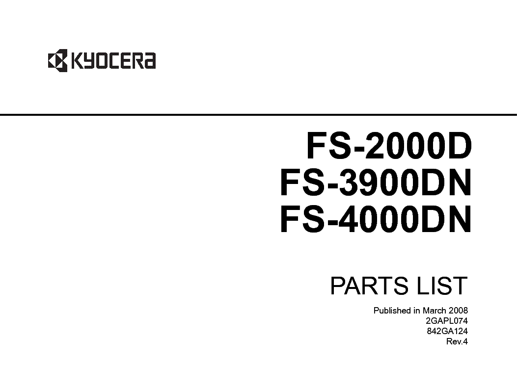 KYOCERA FS-2000D 3900DN 4000DN PARTS LIST Service Manual