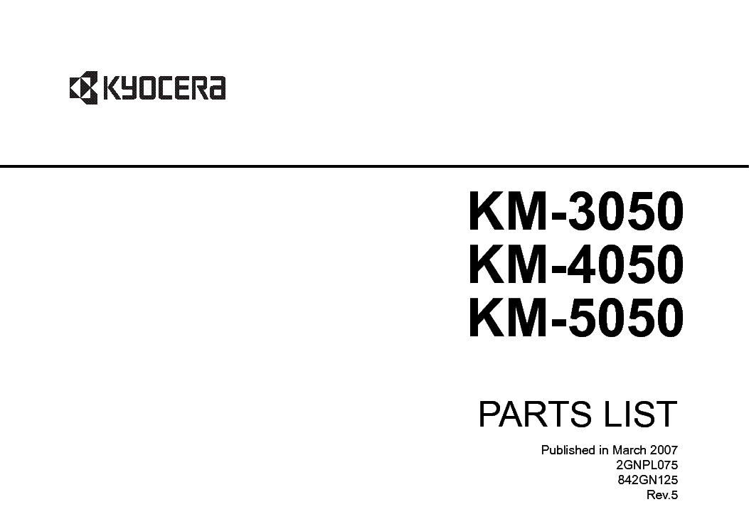 KYOCERA KM-3050 4050 5050 PARTS LIST Service Manual