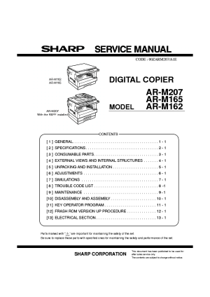 SHARP ARM207 ARM165 ARM162 Service Manual download