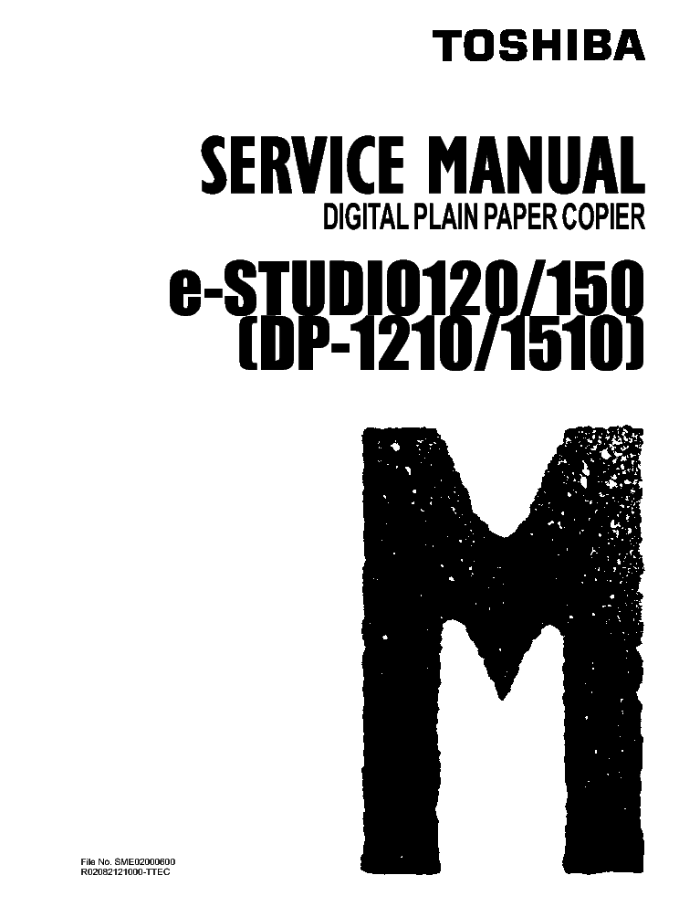 TOSHIBA E-STUDIO120 150 DP-1210 1510 Service Manual