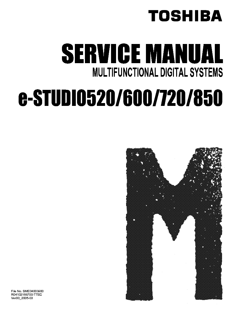 TOSHIBA E-STUDIO 520 600 720 850 Service Manual download