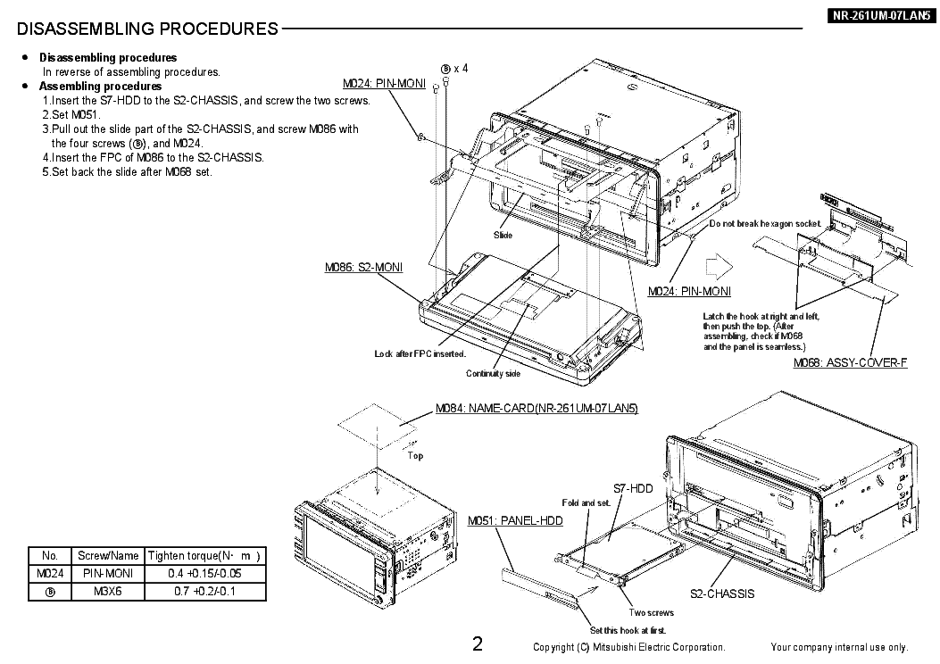 MITSUBISHI NR-261UM-07LAN5 Service Manual download