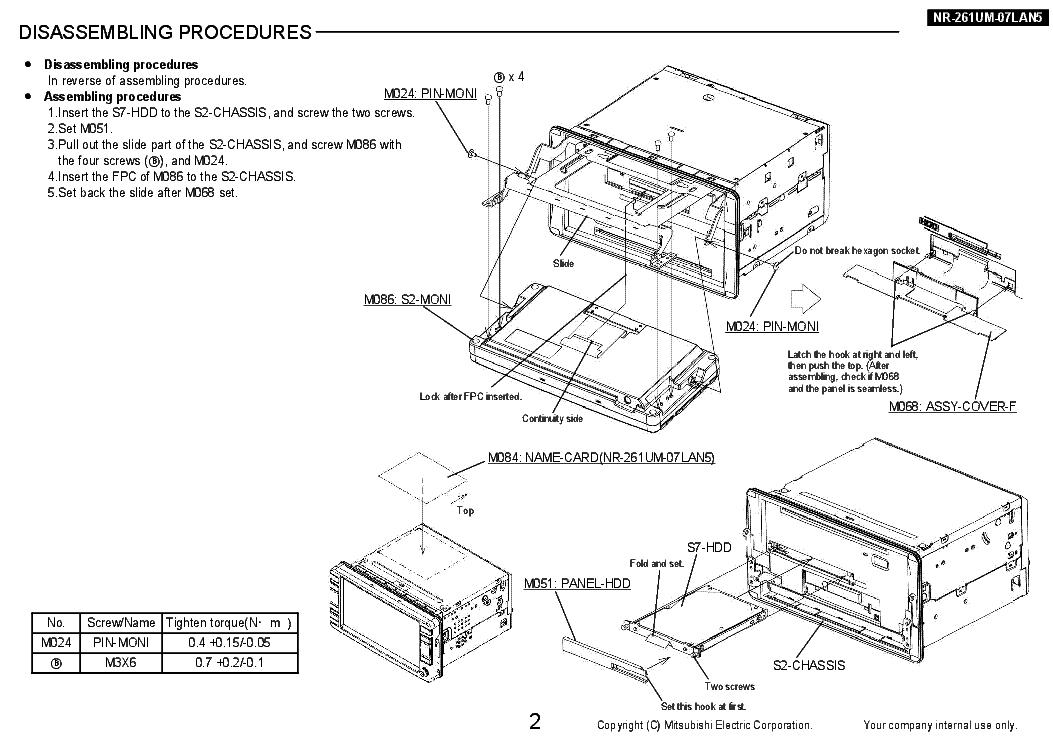 MITSUBISHI NR-261UM-07LAN5 Service Manual download