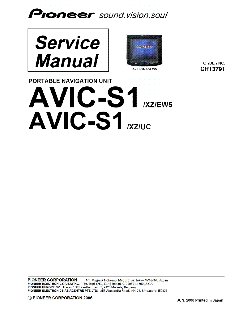 PIONEER AVIC-S1 NAVIGATION UNIT Service Manual download
