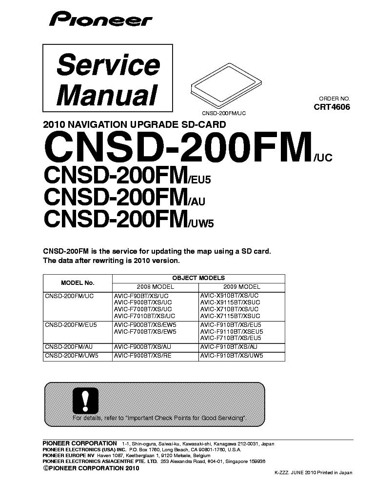 PIONEER AVIC-D2 Service Manual download, schematics