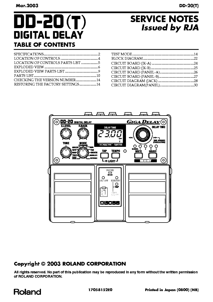 BOSS DD-20-T Service Manual download, schematics, eeprom