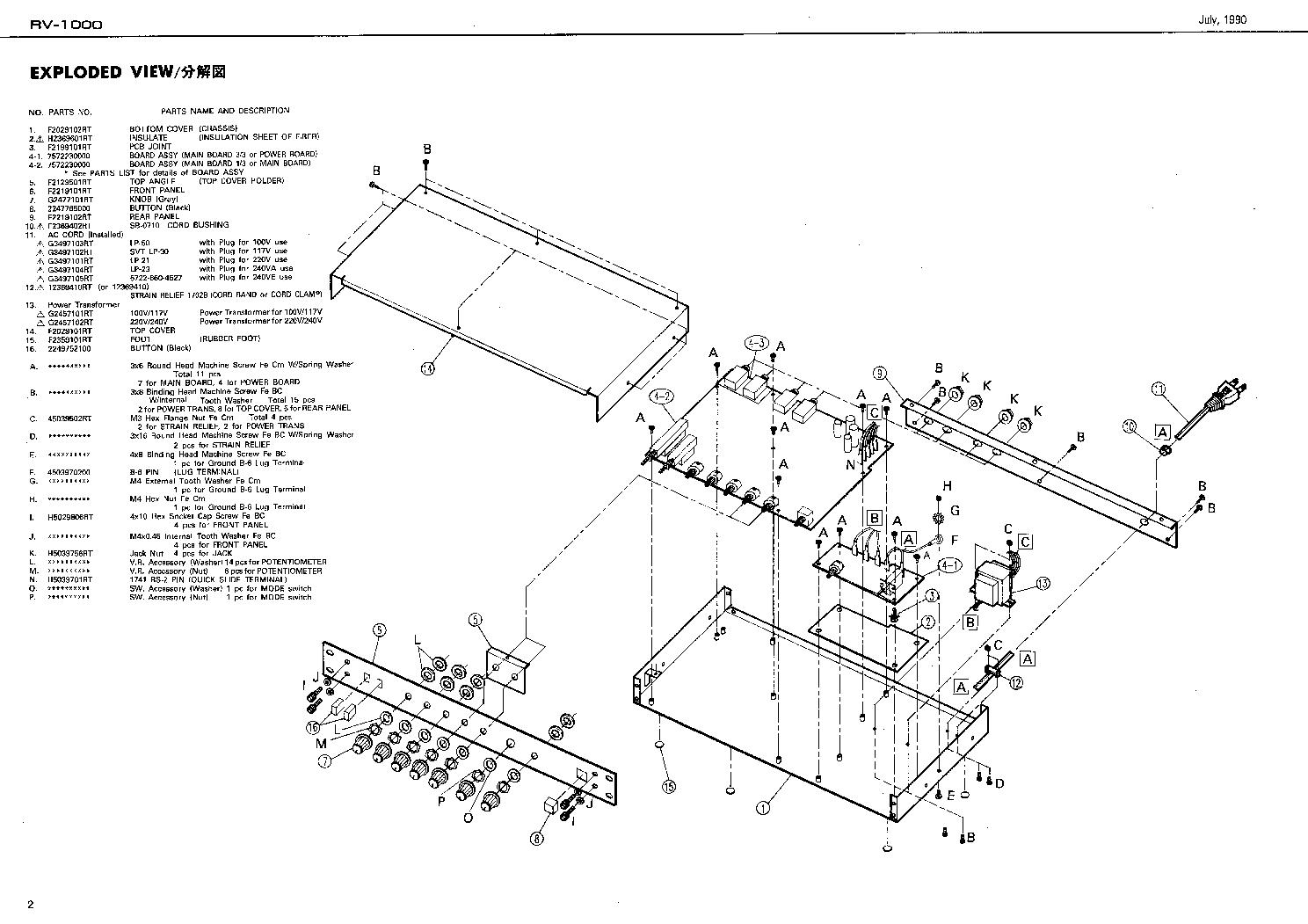 BOSS RV-1000 SM Service Manual download, schematics