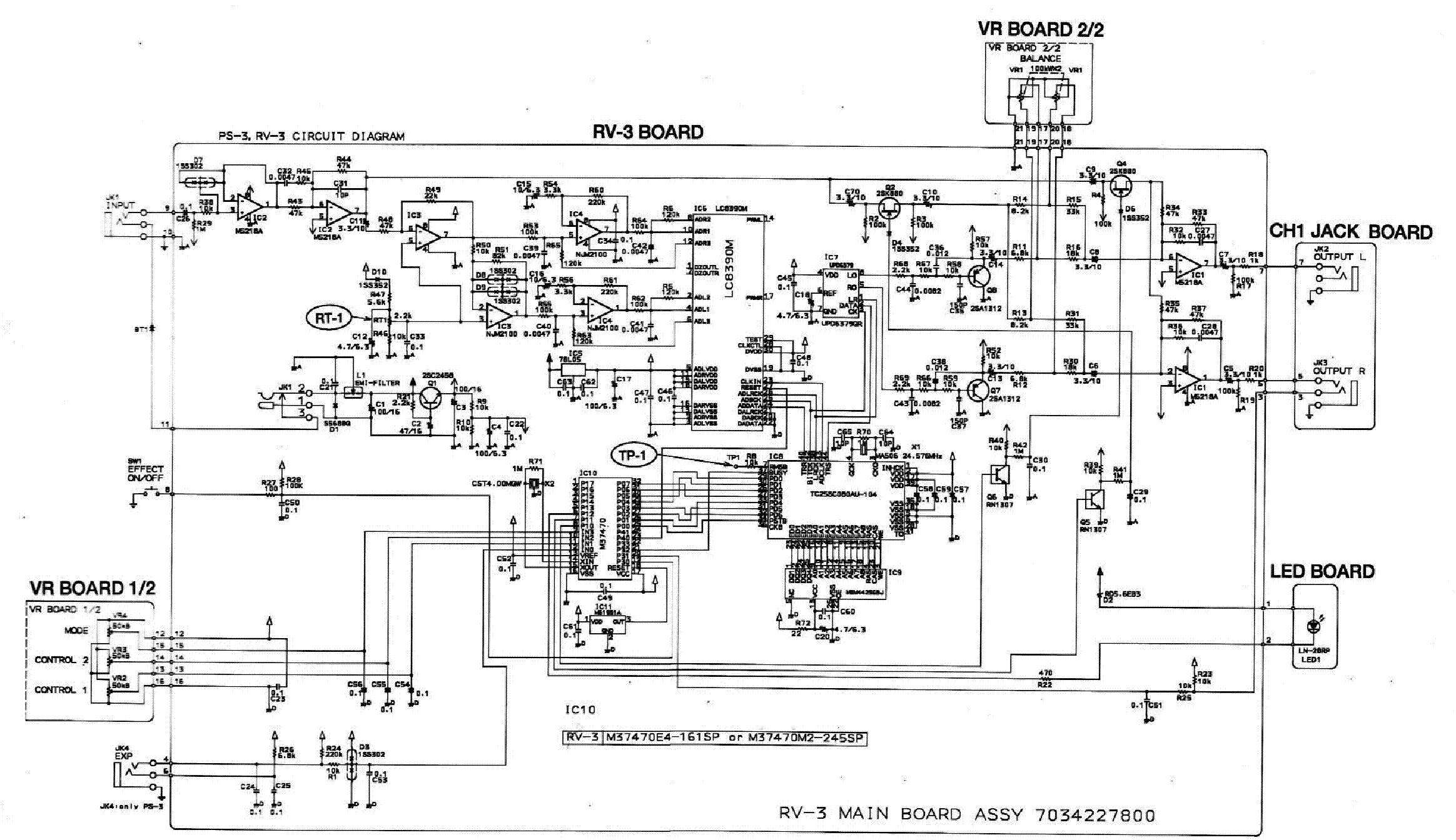 BOSS RV3-DELAY-REVERB Service Manual download, schematics
