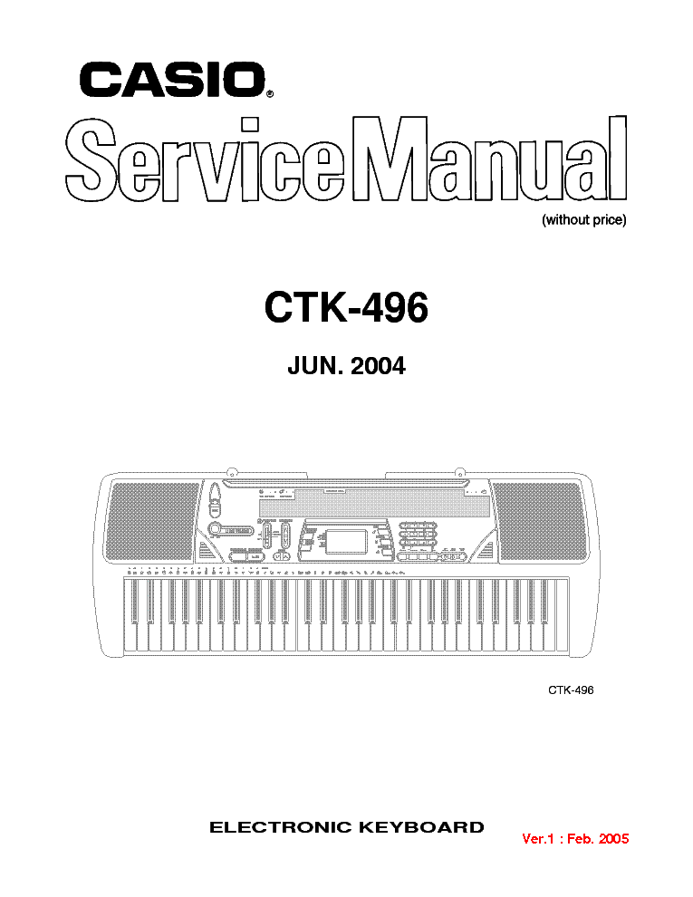 CASIO CTK-496 Service Manual download, schematics, eeprom