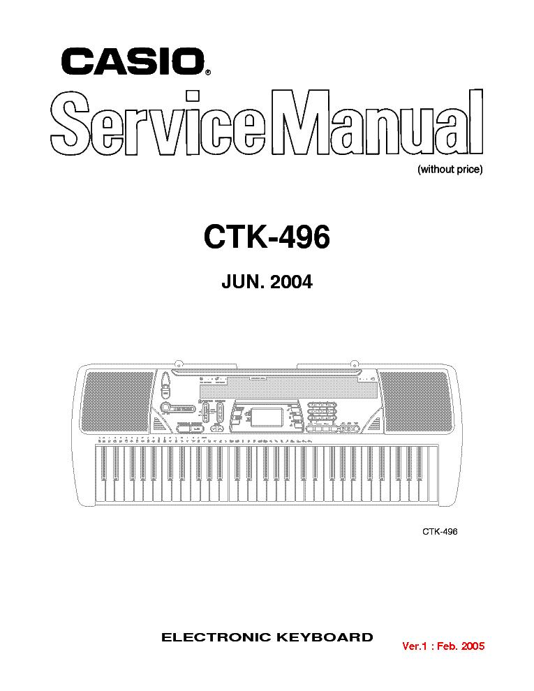 CASIO CTK-496 Service Manual download, schematics, eeprom