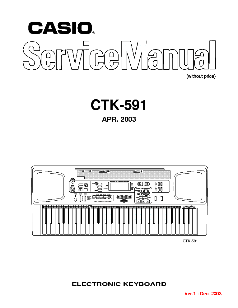 CASIO CTK-591 SM Service Manual download, schematics