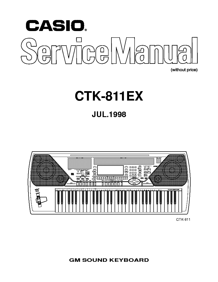 CASIO CTK-100 Service Manual download, schematics, eeprom
