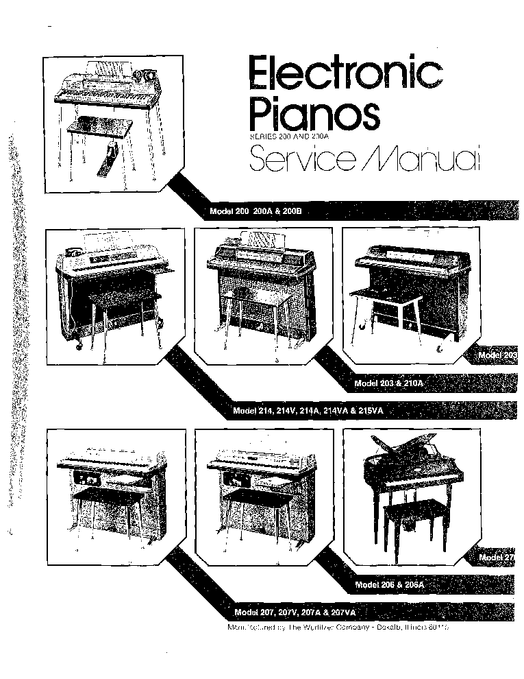 WURLITZER ELECTRIC PIANOS SERIES 200 SM Service Manual