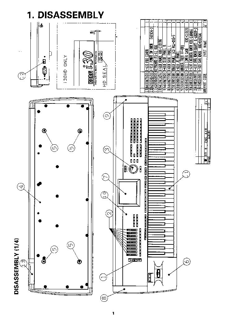 KORG I30 I30HD Service Manual download, schematics, eeprom