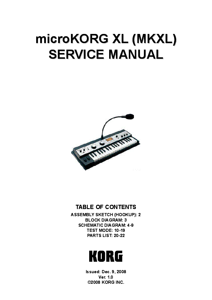 KORG TR61 Service Manual download, schematics, eeprom
