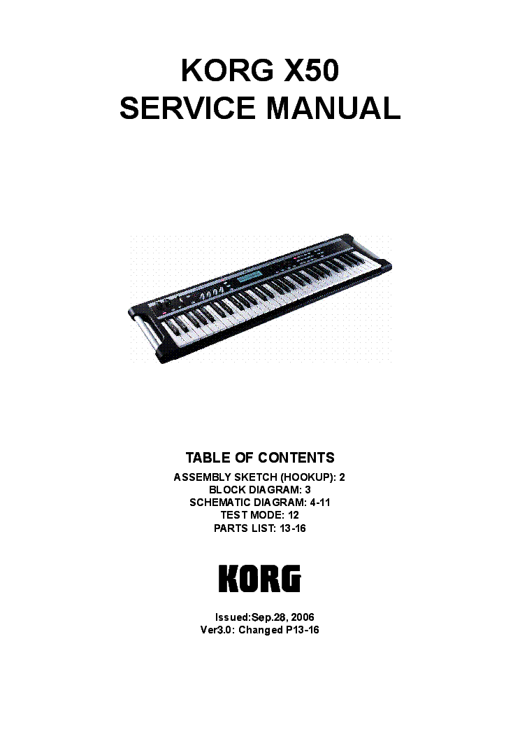 KORG MICROX Service Manual download, schematics, eeprom