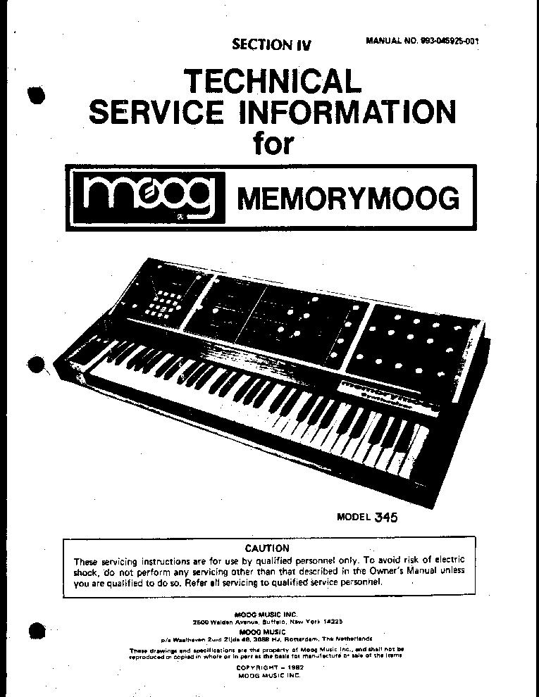 MOOG MEMORYMOOG Service Manual download, schematics