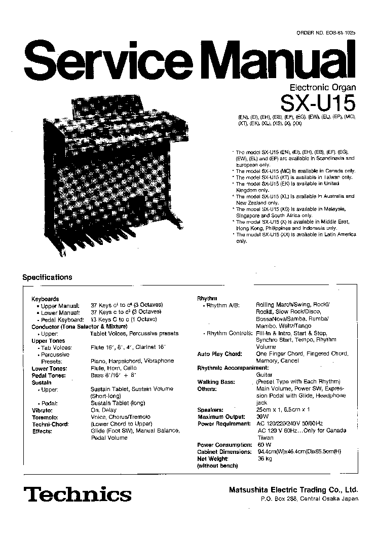 TECHNICS SX-KN6000-SM Service Manual download, schematics