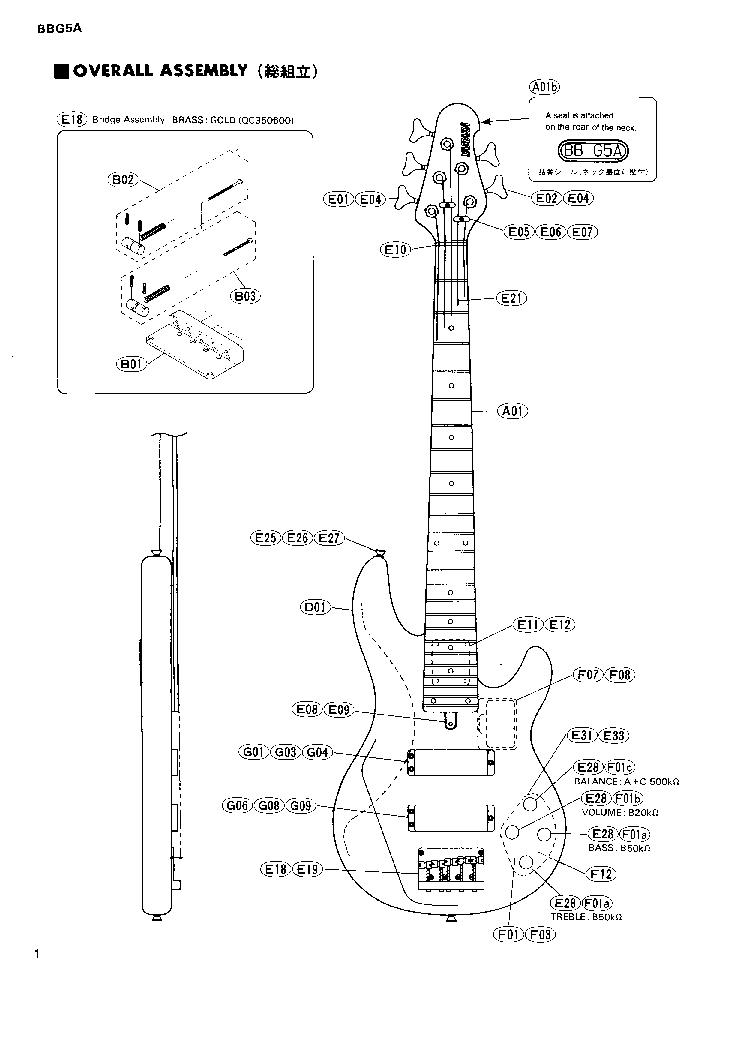 YAMAHA BBG5A GUITAR Service Manual download, schematics
