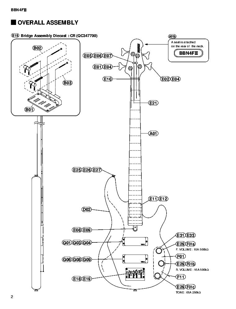 YAMAHA BBN4FIII GUITAR Service Manual download, schematics
