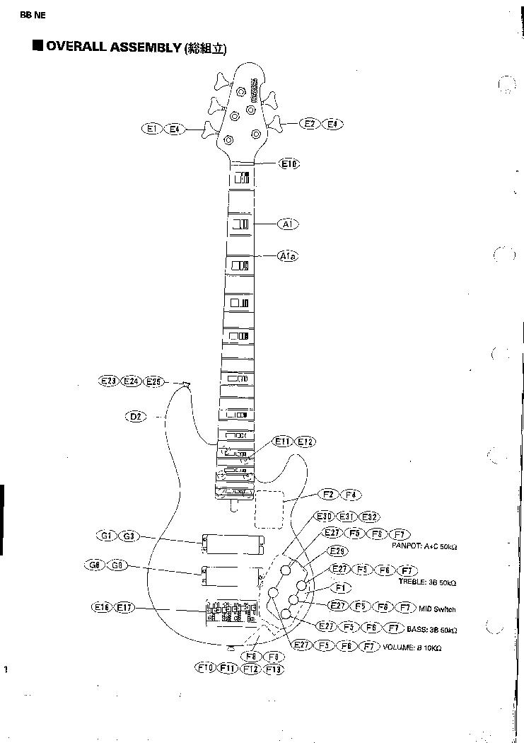 YAMAHA BBNE NATHAN EAST MODEL GUITAR Service Manual