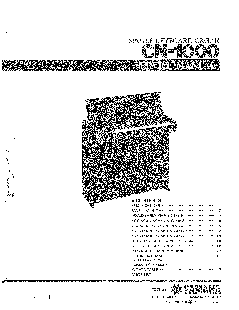 YAMAHA PSR-1000 PSR-2000 Service Manual download