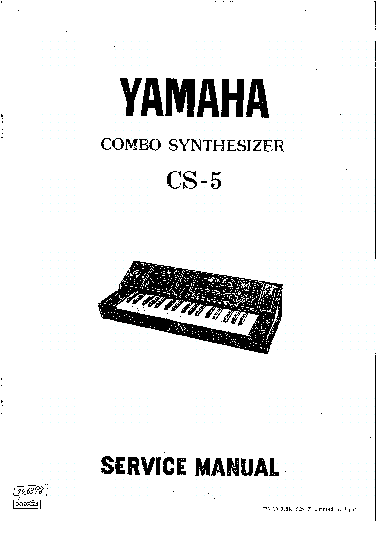 YAMAHA CS-5 SYNTHESIZER SM Service Manual download