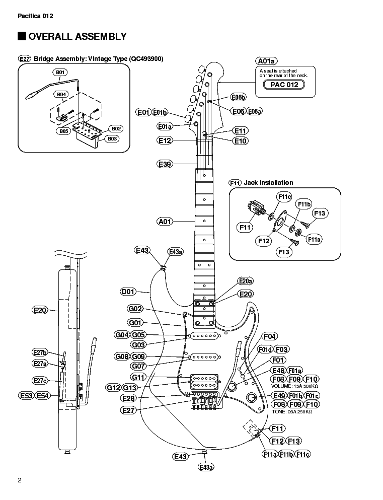 YAMAHA PACIFICA 012 Service Manual download, schematics