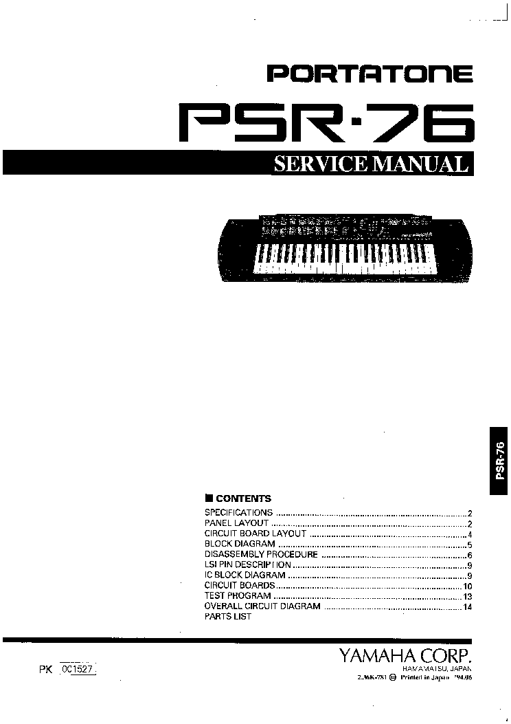 YAMAHA PSR-76 Service Manual download, schematics, eeprom