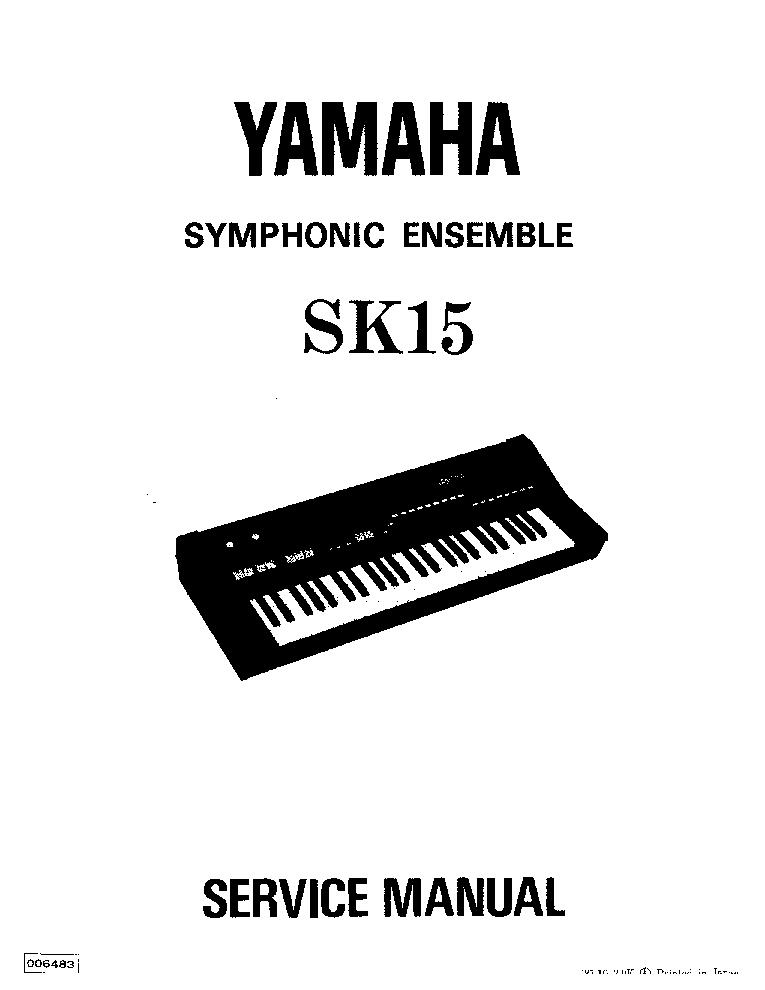 YAMAHA SK15 MUSIC KEYBOARD SM Service Manual download