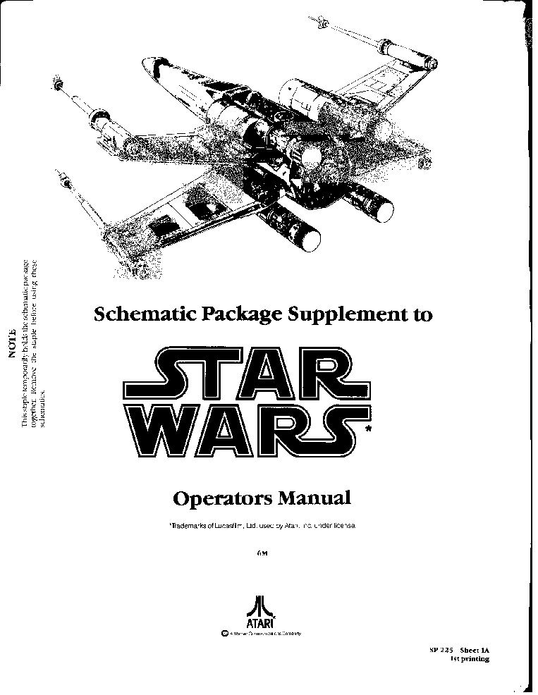 ATARI STAR-WARS SP-225 Service Manual download, schematics