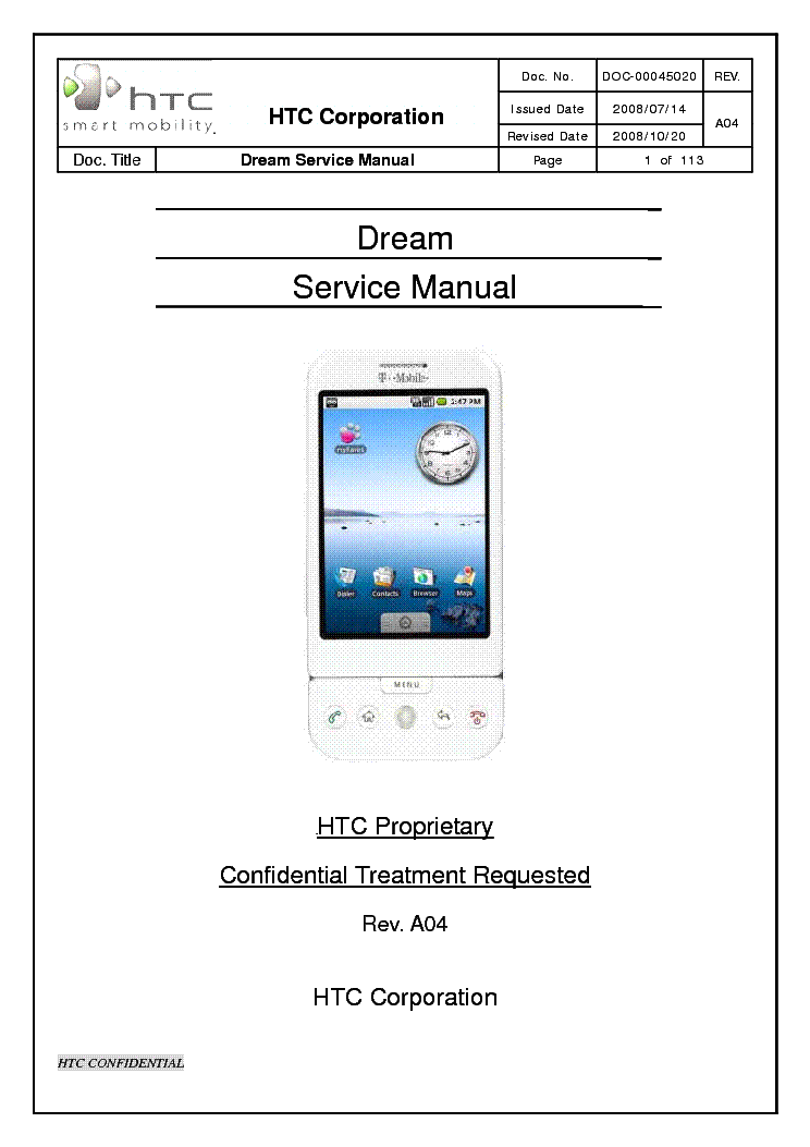 HTC DREAM SM Service Manual download, schematics, eeprom