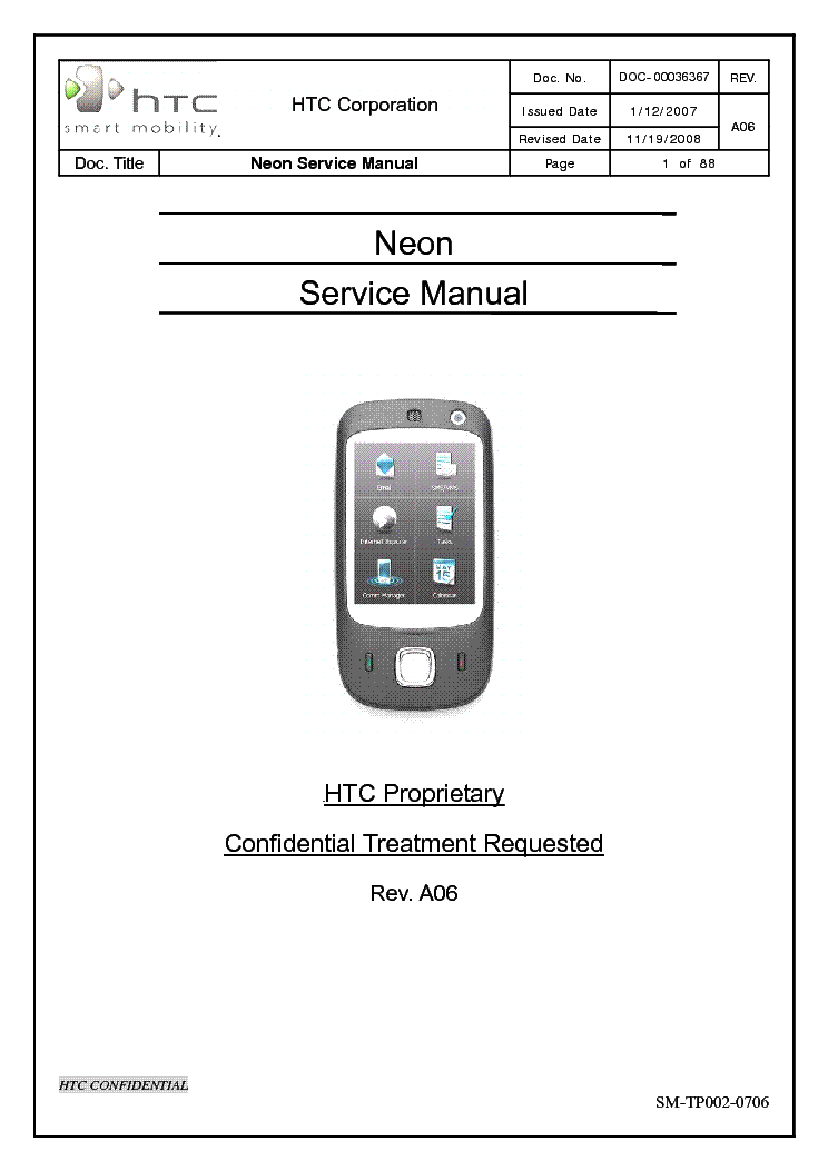HTC NEON Service Manual download, schematics, eeprom