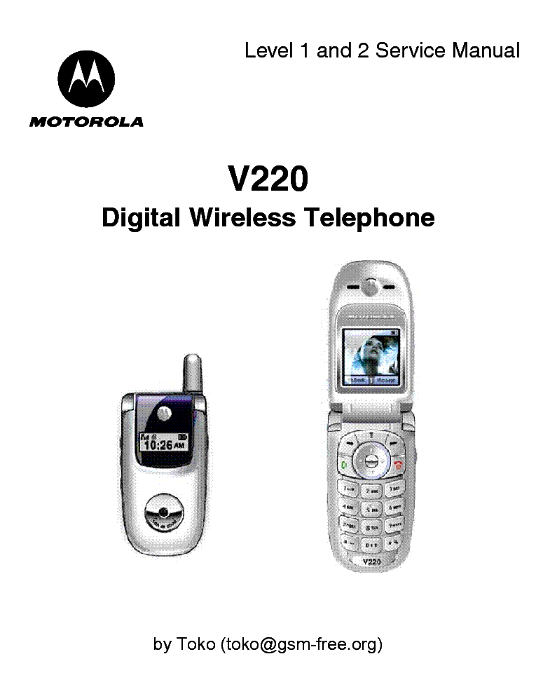 MOTOROLA V220 LEVEL 1 2 SM Service Manual download