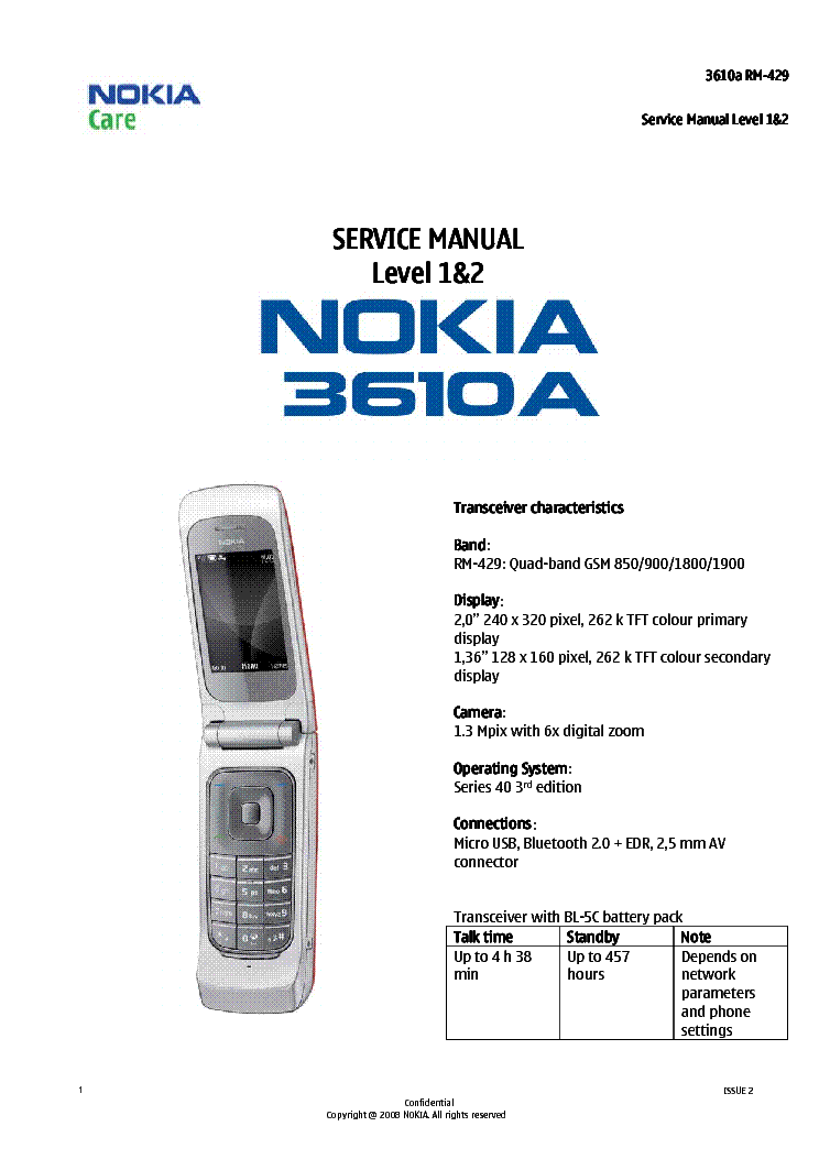 NOKIA 3610A RM-429 SERVICE MANUAL-1,2 V2 Service Manual