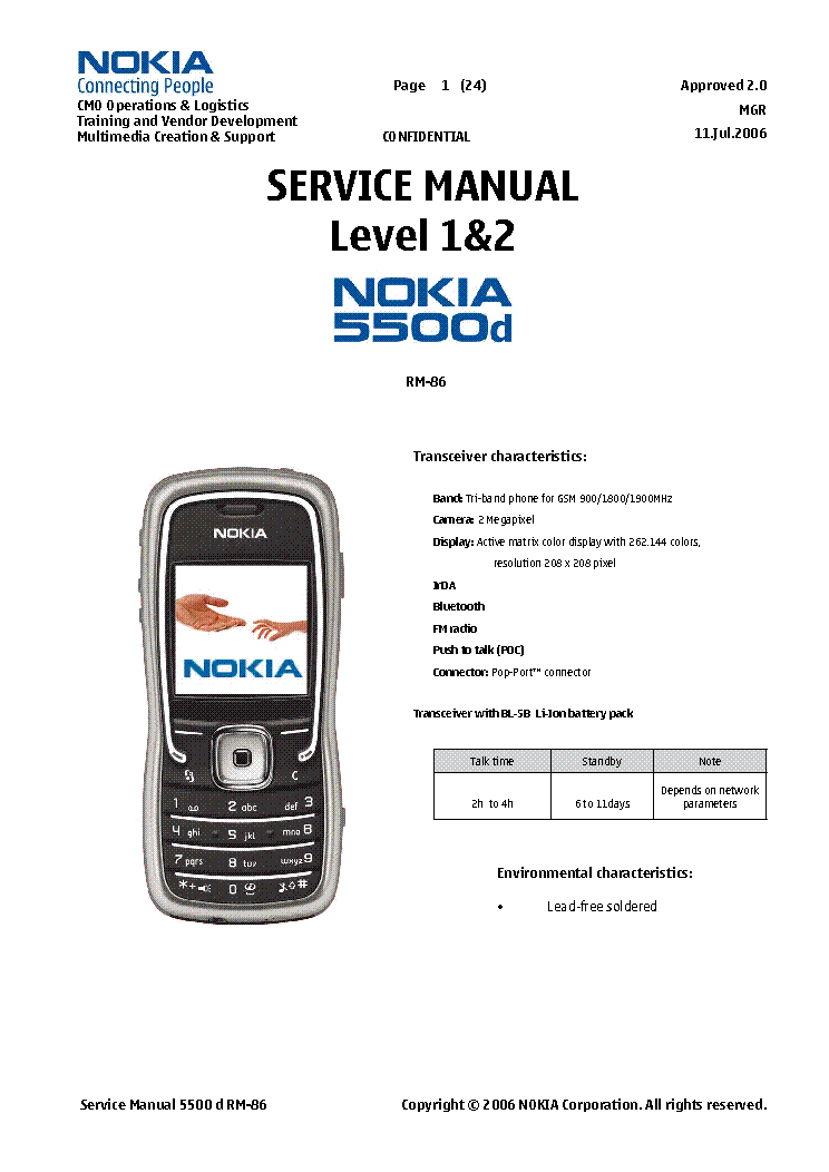 NOKIA 5500 D RM-86 SM LEVEL 1 2 Service Manual download