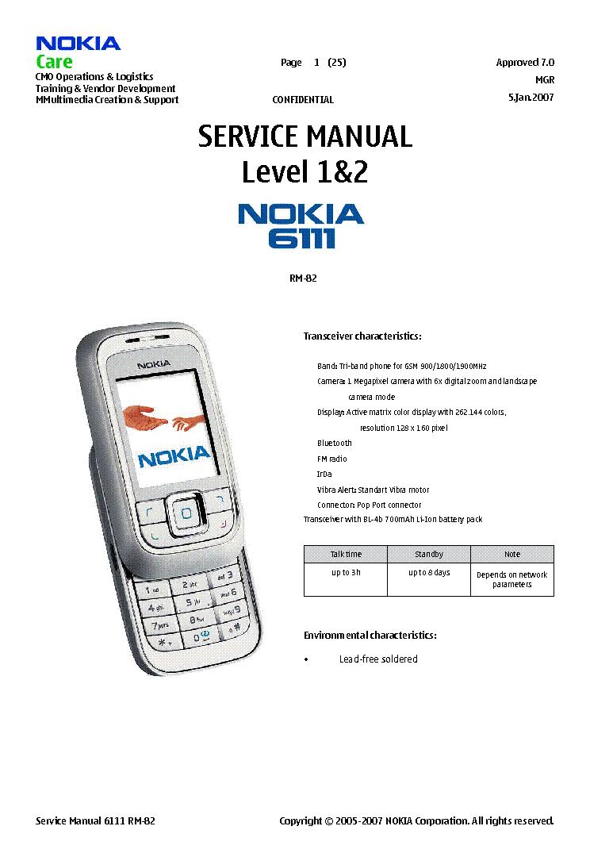 NOKIA 6111 RM-82 SERVICE MANUAL-1,2 Service Manual