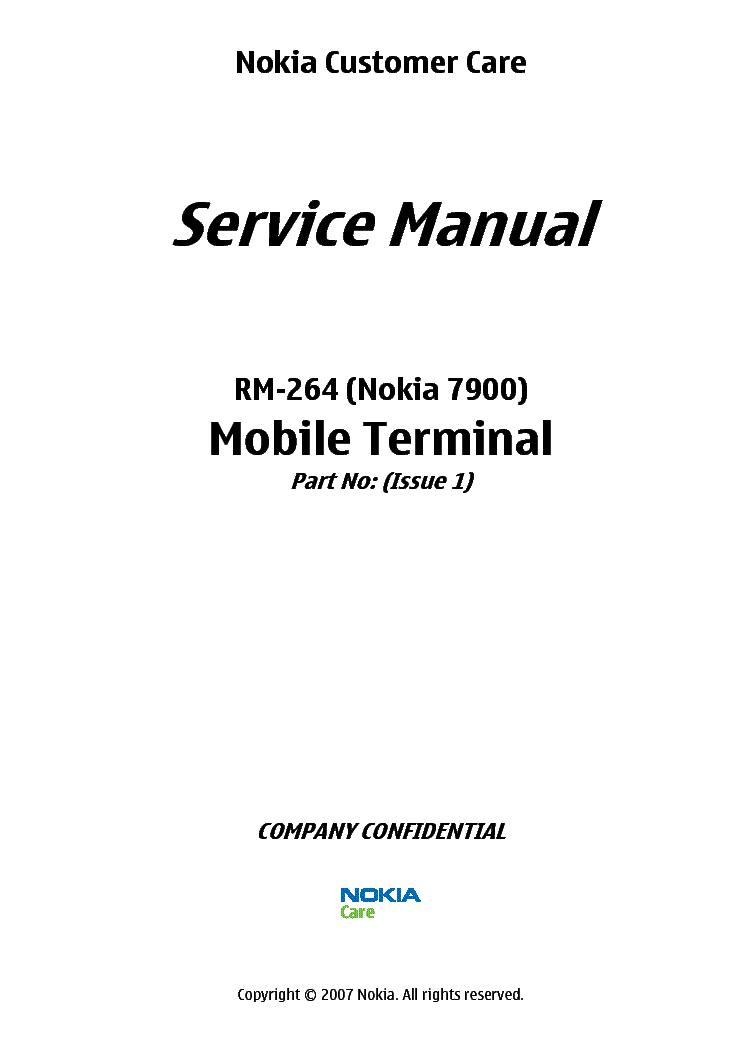 NOKIA 7900 RM-264 L3-4 Service Manual download, schematics