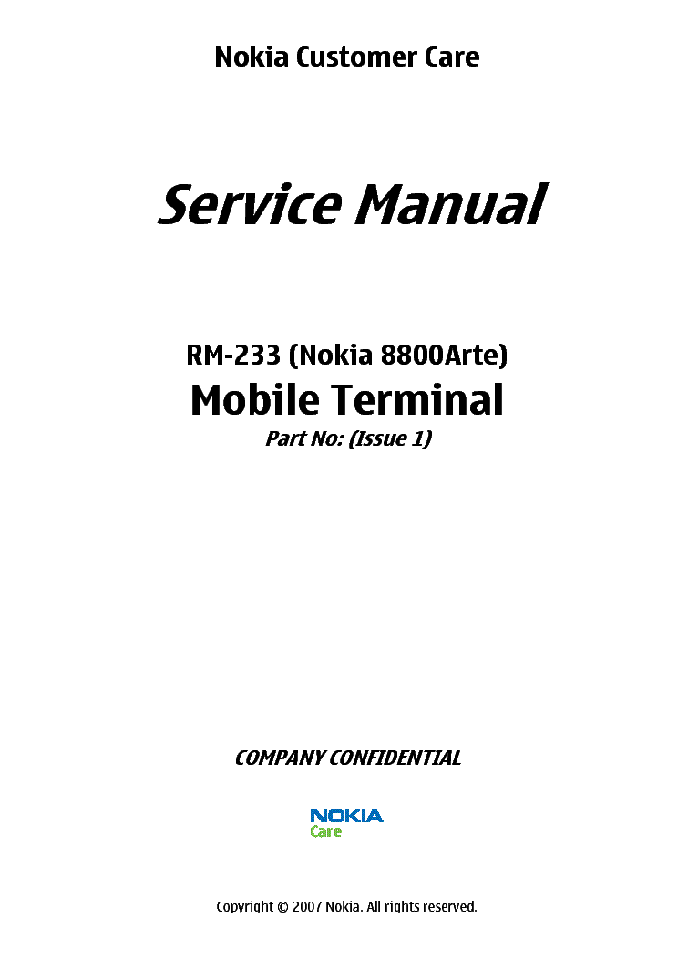 NOKIA 8800ARTE RM-233 L3-4 Service Manual download