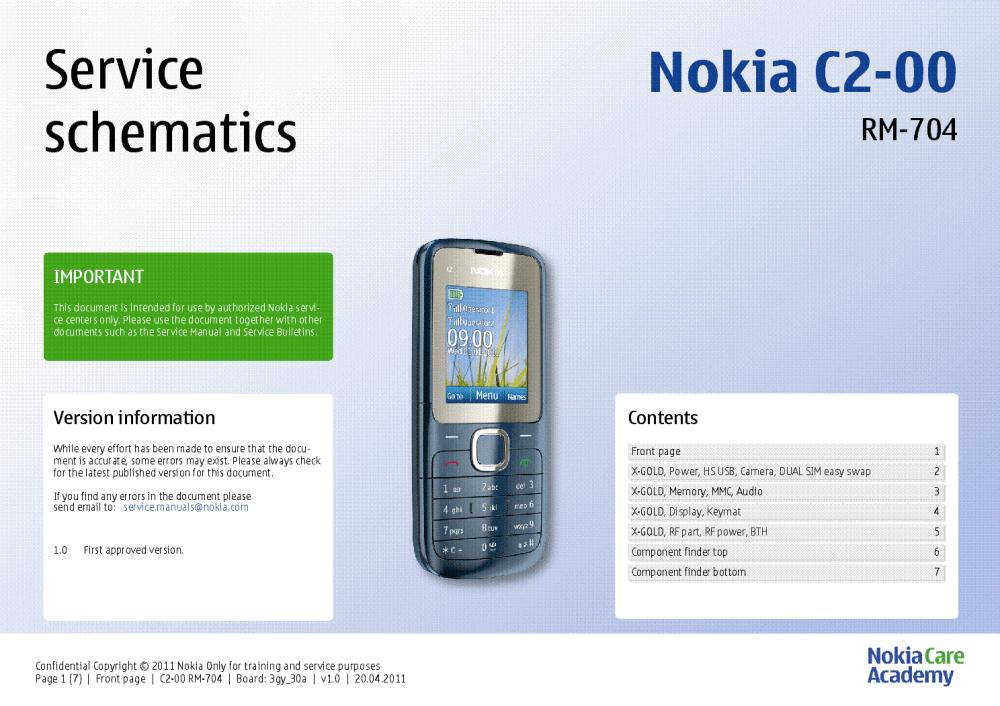 medium resolution of nokia c2 00 rm 704 service schematics v1 0 service manual 1st