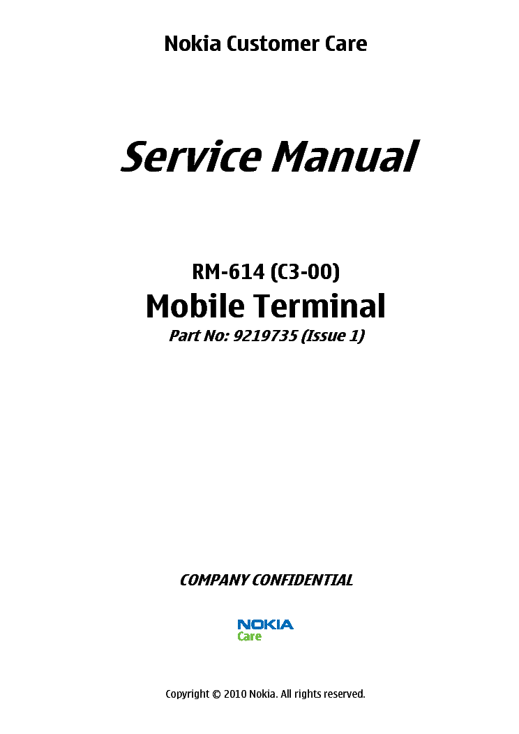 NOKIA C3-00 RM-614 L34 Service Manual download, schematics