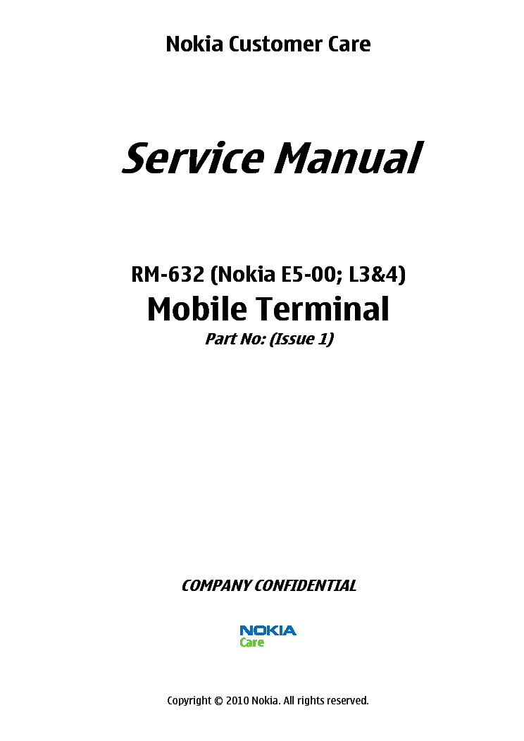 NOKIA E5-00 RM-632 SM L34 Service Manual free download