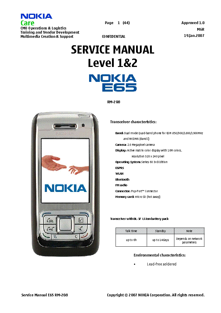 NOKIA E65 LEVEL 1 AND 2 Service Manual free download