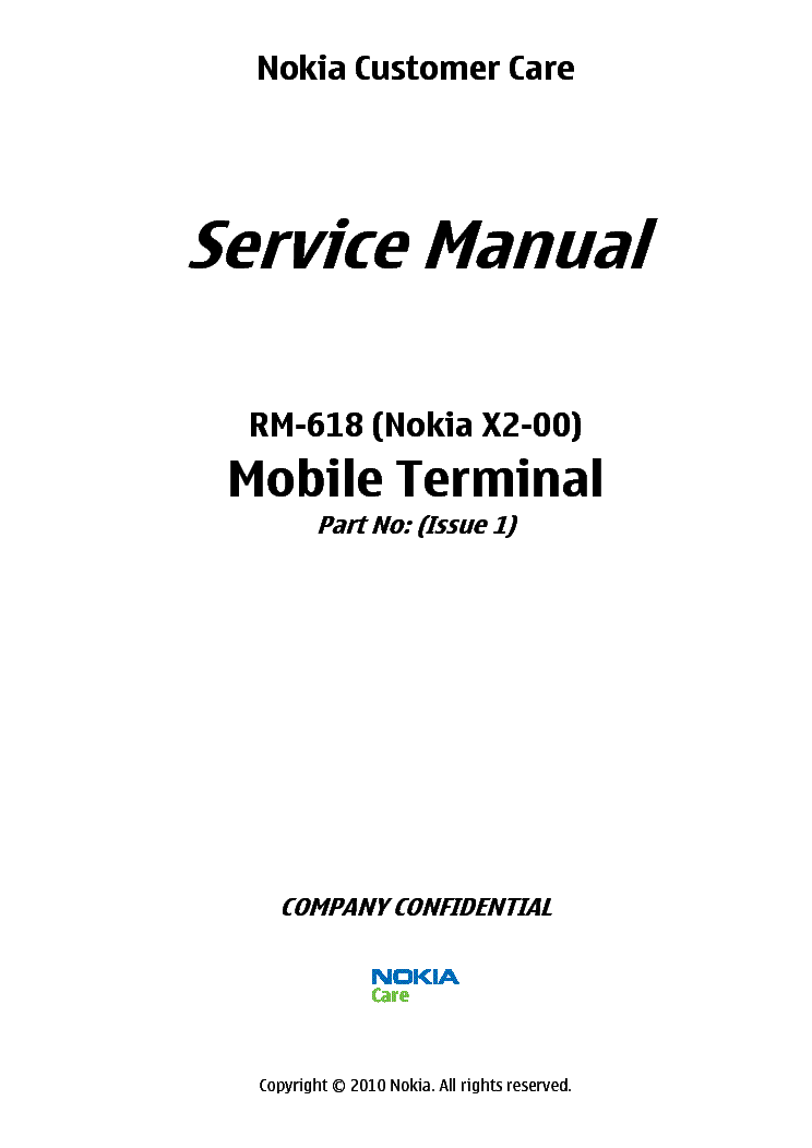 NOKIA X2-00 RM-618 SM L3 4 V1.0 Service Manual download