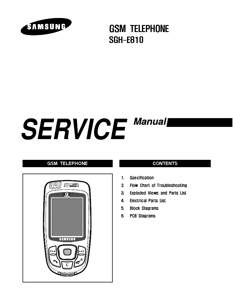 SAMSUNG SGH-E810 SERVICE MANUAL Service Manual download